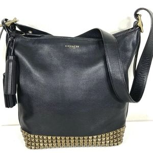 Coach Leather Studded Duffle Crossbody Shoulder Ba